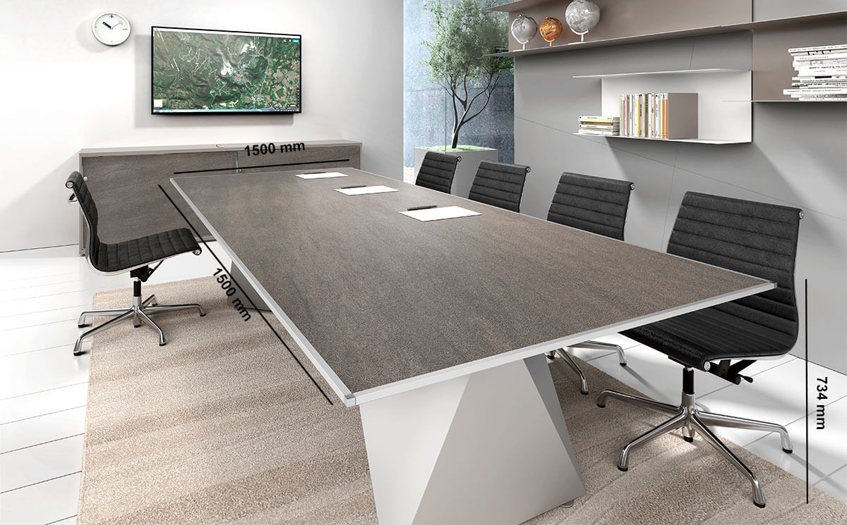 Prime 3 Meeting Room Table With Double Base Desk Size