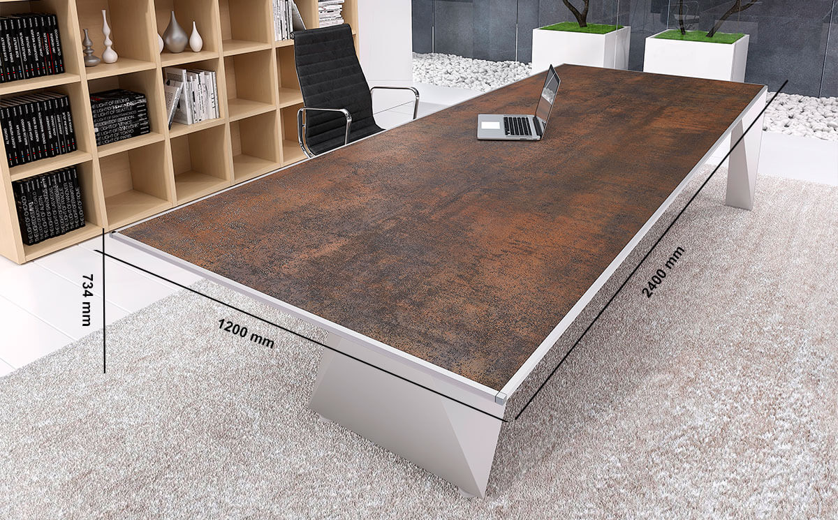 Prime 4 Rectangular Meeting Room Table With Single Base Desk Size