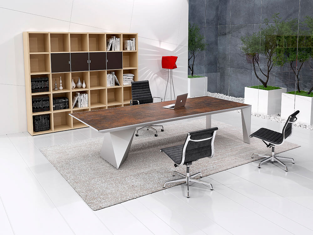 Prime 4 Rectangular Meeting Room Table With Single Base Main Image