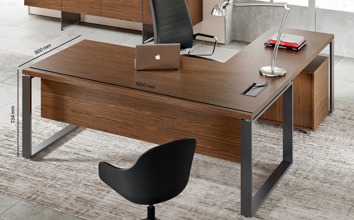 Romilda Ring Legs Exective Desk With Optional Return Main Image Desk Size