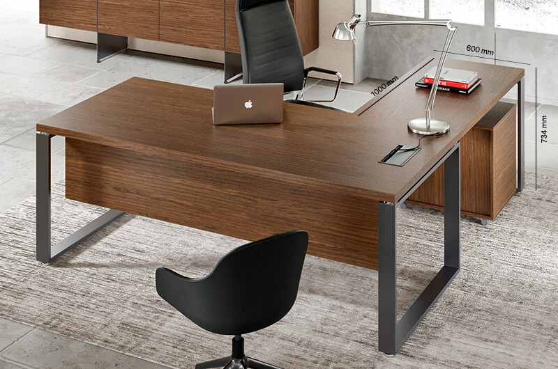 Romilda Ring Legs Exective Desk With Optional Return Main Image Return Size