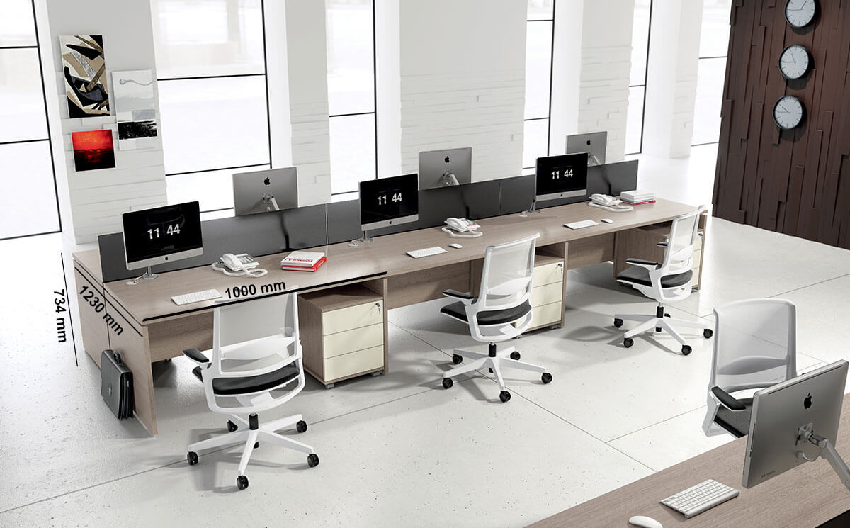 Amo 1 Slab Legs Workstation With Screens For 2,4 And 6 Persons Desk Size
