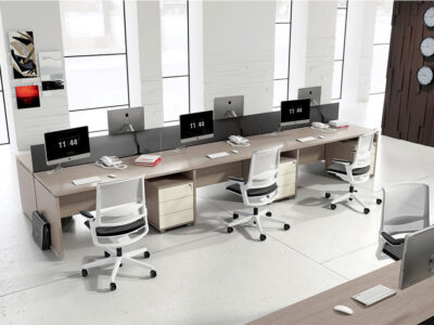 Amo 1 Slab Legs Workstation With Screens For 2,4 And 6 Persons Main Image