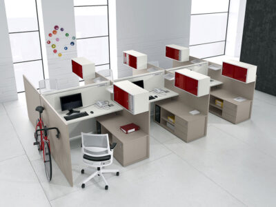 Amo 2 Slab Legs Workstation With Front And Lateral Panel For 2,4 And 6 Persons 1