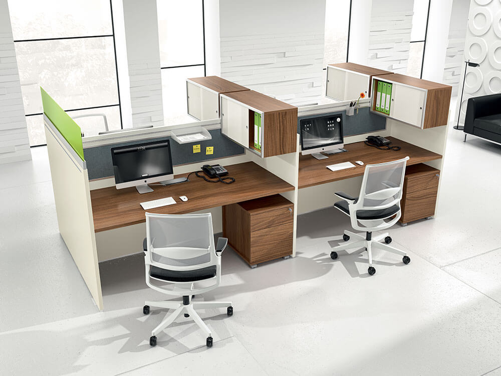Amo 2 Slab Legs Workstation With Front And Lateral Panel For 2,4 And 6 Persons Main Image