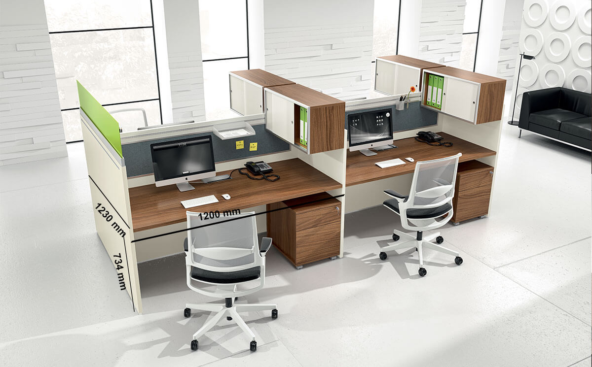 Amo 2 Slab Legs Workstation With Front And Lateral Panel For 2,4 And 6 Persons Desk Size