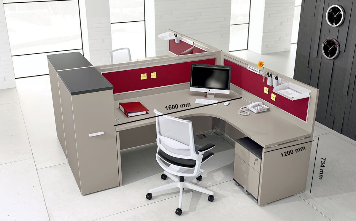 Amo 3 – Curved Operational Desk With Front Panel And Side Panel Desk Size