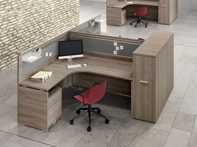 Amo 3 – Curved Operational Desk With Front Panel And Side Panel Main Image