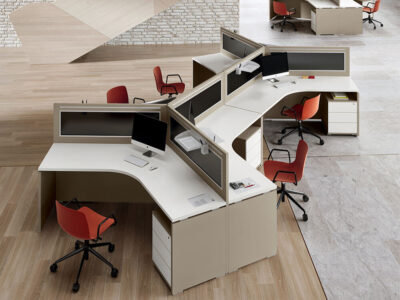 Amo 4 Slab Legs Workstation With Front Panel For 3 Persons 1