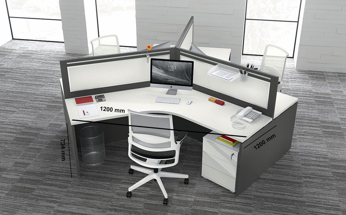Amo 4 Slab Legs Workstation With Front Panel For 3 Persons Desk Size