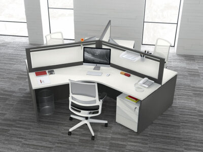 Amo 4 Slab Legs Workstation With Front Panel For 3 Persons Main Image