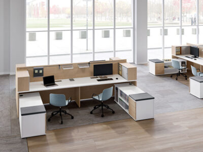 Amo 5 Slab Legs Workstation With Front Panel And Optional Credenza Unit For 4 Persons 1