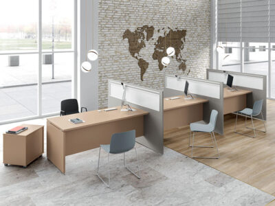 Amo 7 Slab Legs Operational Office Desk With One Side Panel 1
