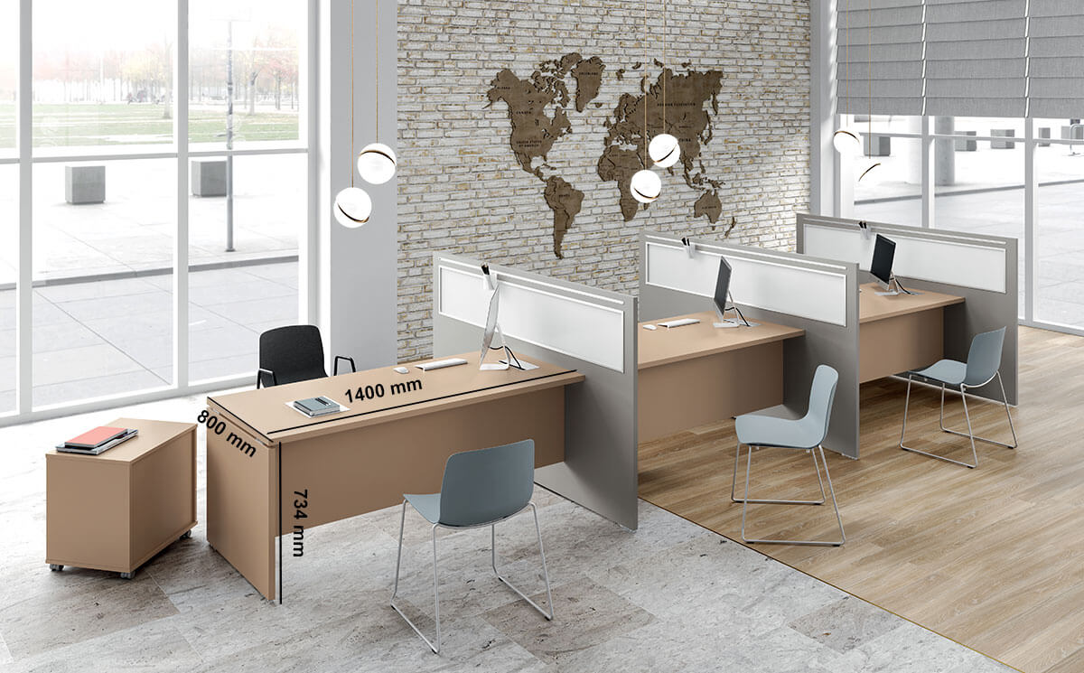 Amo 7 Slab Legs Operational Office Desk With One Side Panel Desk Size