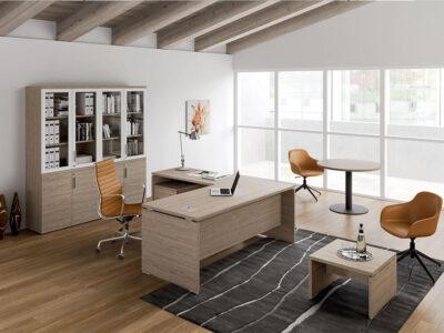 Amo Slab Legs Executive Desk With Modesty Panel 1