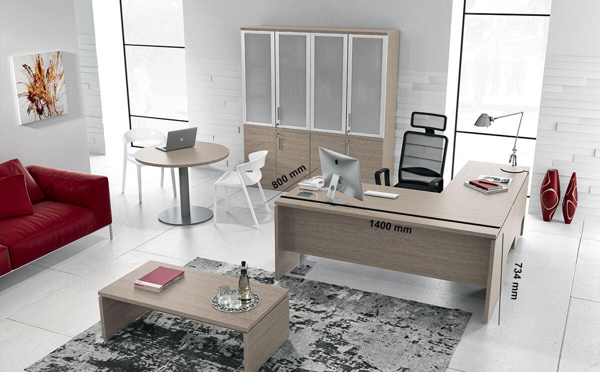 Amo Slab Legs Executive Desk With Modesty Panel Desk Size