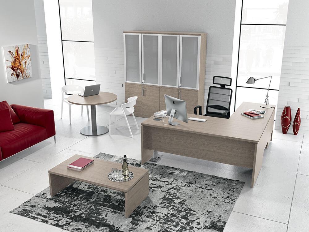 Amo Slab Legs Executive Desk With Modesty Panel Main Image