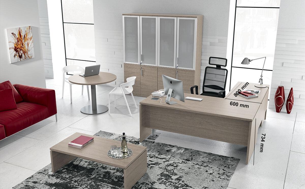 Amo Slab Legs Executive Desk With Modesty Panel Return Size