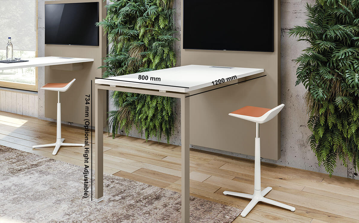 Carita 10 Straight Legs Operational Desk With Wall Mounting Console Desk Size