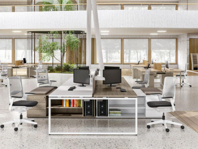 Carita 3 Ring Legs Back To Back Workstation With Credenza Unit 1