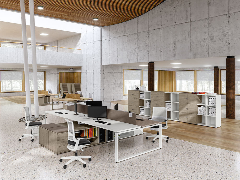 Carita 3 Ring Legs Back To Back Workstation With Credenza Unit Main Image