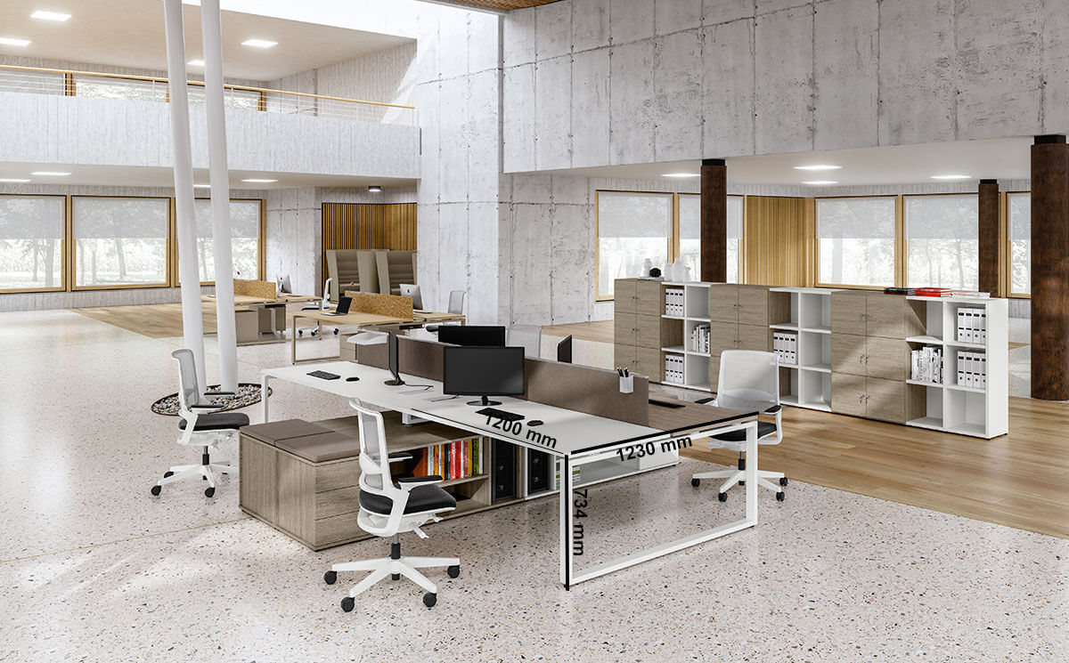 Carita 3 Ring Legs Back To Back Workstation With Credenza Unit Desk Size