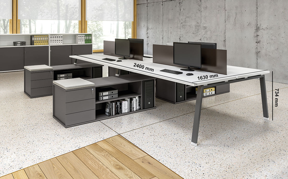 Carita 7 A Legs Back To Back Workstation With Credenza Unit For 4 & 6 Persons Desk Size