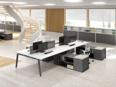 Carita 7 A Legs Back To Back Workstation With Credenza Unit For 4 & 6 Persons Main Image