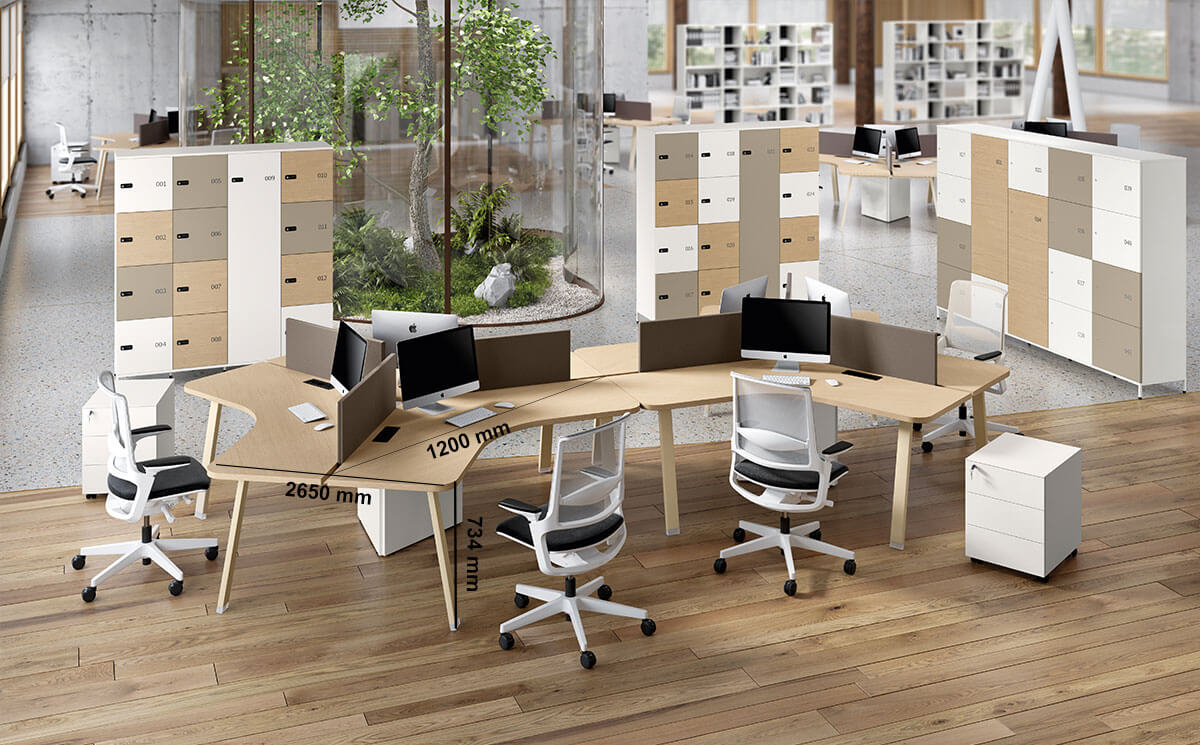 Carita 8 A Legs Curved Workstation For 3 Persons Desk Size