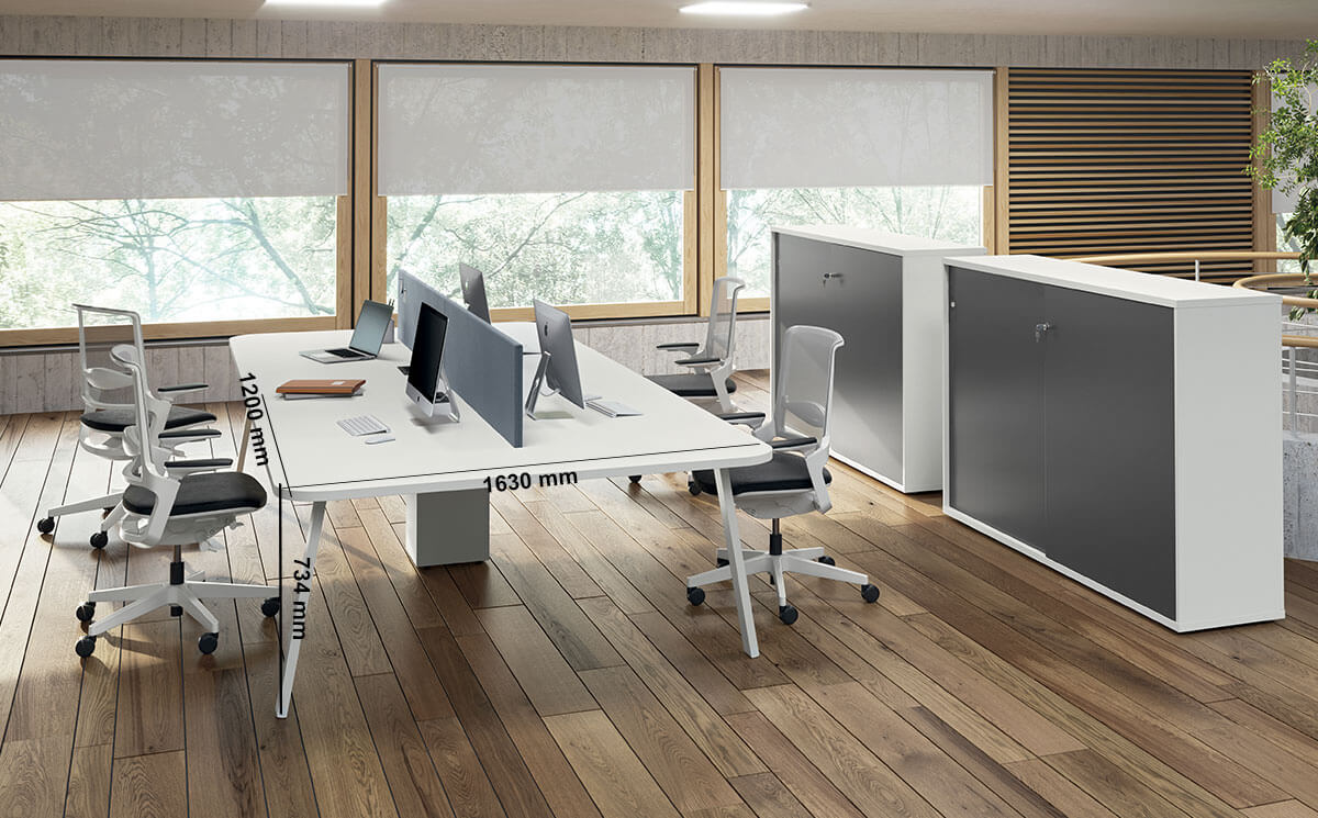 Carita 9 A Legs Rounded Corner Workstation For 2 & 4 Peoples Desk Size
