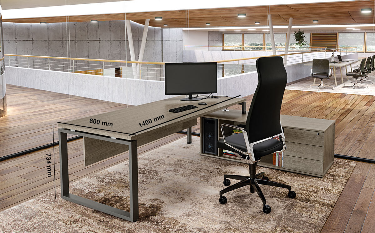 Carita Ring Legs Executive Desk With Optional Modesty Panel And Credenza Unit Desk Size