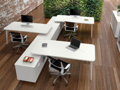 Donati 3 Operational Office Desk With Credenza Unit 1