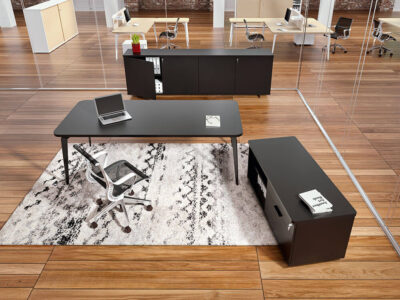 Donati Executive Desk In Wood With Optional Storage Unit 1
