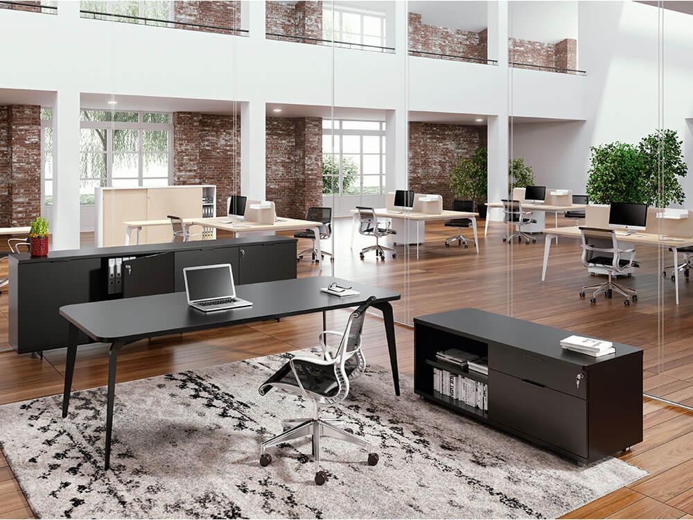 Donati Executive Desk In Wood With Optional Storage Unit Main Image